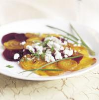 Roasted beets with maple dressing and goat cheese